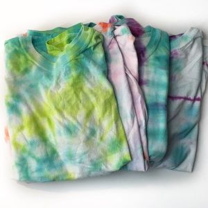 (4 )Tie-Dye T-Shirt Tee Hanes Comfort Fit Youth XL